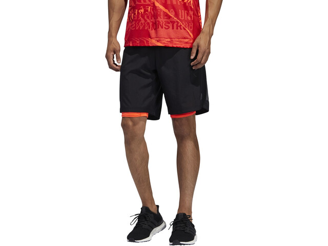 "adidas OWN The Run 2N1 Short 5"" Homme, black/solar red"